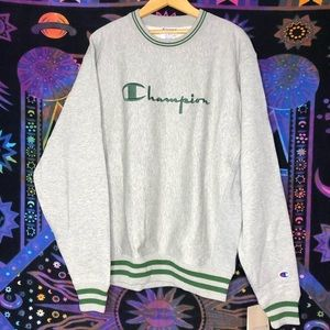 Retro Champion Spell Out Sweater Sweatshirt MED